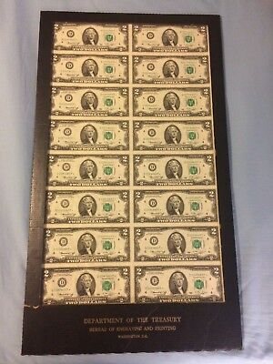 Uncut Sheet Of 16 1976 $2.00 Star Notes D Serial Numbers. See Pics!