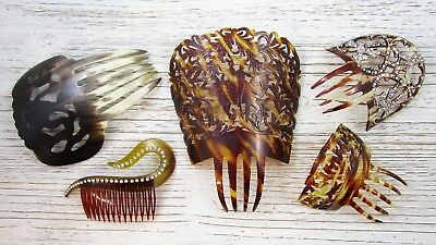 Hair Barrette Lot of 5 Vintage Faux Tortoise Shell Plastic Celluloid Rhinestone