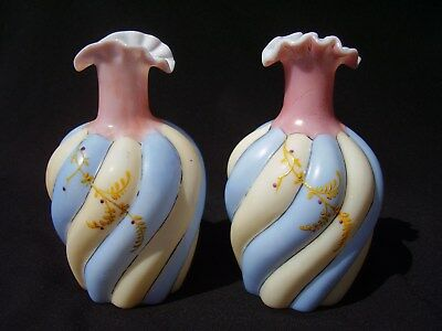 Pair of Victorian Era Bohemian Art Glass Decorated Vases