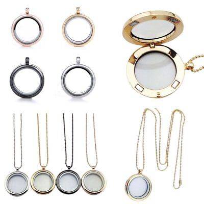 30mm Living Memory for Floating Charms Glass Locket Pendant Necklace Free Chain
