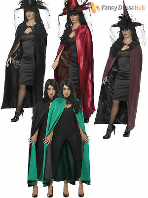 Ladies Deluxe Reversible Witches Cape Cloak Womens Halloween Fancy Dress Costume