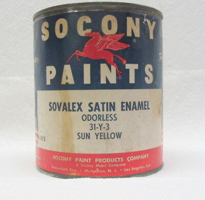 Socony Mobil Vintage One Quart Empty Paint Can with Lid Good Paper Label