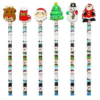 24 Xmas Christmas Character Eraser Topped Pencils Party Bag Filler With STICKERS