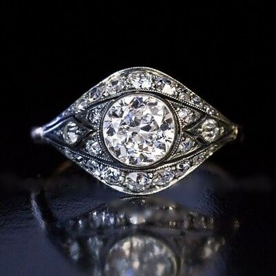 Vintage Art Deco 1 Ct Off White Moissanite Ring 925 Sterling Silver Engagement