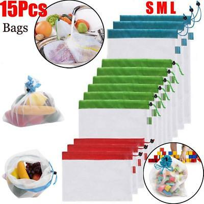 15 Pcs Reusable Produce Mesh Bags Eco Friendly Double-Stitched Food Toys Storage