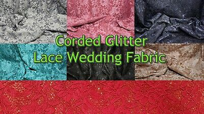 Corded Glitter Lace Bridal Wedding Dressmaking Shimmer Material Bridesmaid Veil