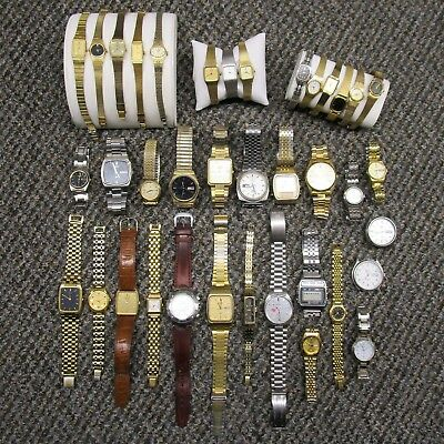 Vintage Seiko Wristwatch Lot of 38 Misc Quartz Watches   For Parts or Repair
