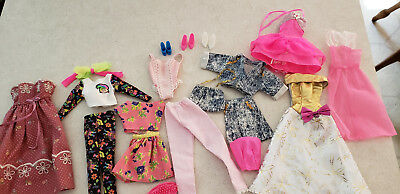 Lot 22 piece vintage Barbie clothing Trolls denim set dresses shoes purse