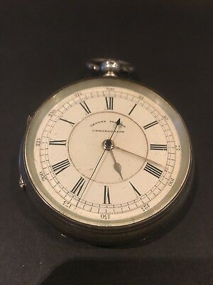 Antique Silver Centre Seconds Chronograph Pocket Watch , Working , Manchester ,