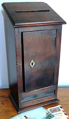 Antique English Wood/Glass Hotel Outgoing Mail Correspondence/Postal Letter Box