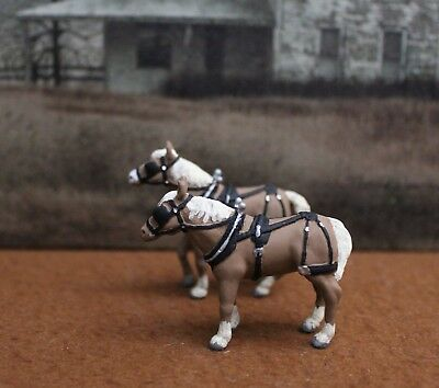 Custom Mini Painted Draft Horse Pair 0 Scale - Resin for  Railroad/ Ranch Setup