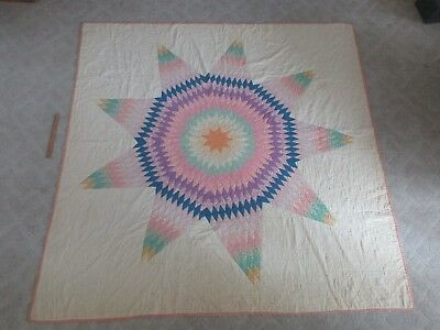 """Antique Hand Sewn Applique Multi Fabric Feed Sack Star Quilt Coverlet 77"""" x 76"""""""
