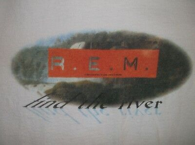 VTG early 90's REM t-shirt white LG Find the River Automatic Alt band tour rock