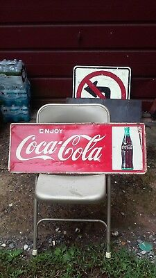 "Coca Cola Advertising Sign 12"" X 31 1/2"" By Mca Coke Bottle On Sign."