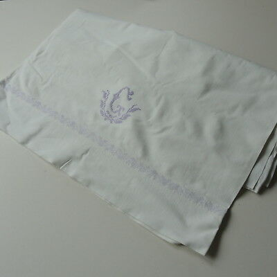 Vintage Swedish hand-embroidered lilac monogrammed white cotton sheet 3