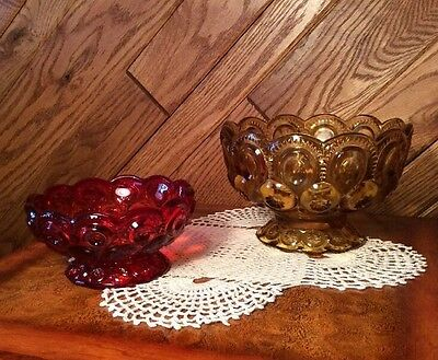 Vintage LE Smith Moon & Stars Pressed Glass Footed Candy Dish Bowl 2