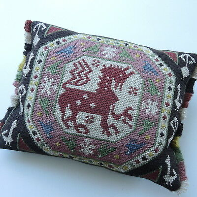 Swedish tapestry cushion, mythical beast symbol of Ystad, Kurt Wallender's home