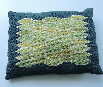 Vintage 1960s Swedish embroidery tapestry cushion, green/yellow geometric shapes