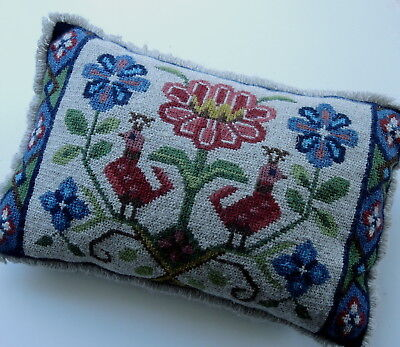 Vintage Swedish embroidered tapestry cushion, pink/red flower & two peacocks