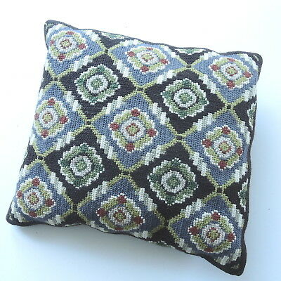 Vintage Swedish handembroidered wool tapestry cushion, motifs in shades of green