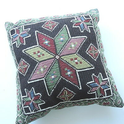 Vintage Swedish wool embroidered tapestry cushion cover, stylised 8 point star