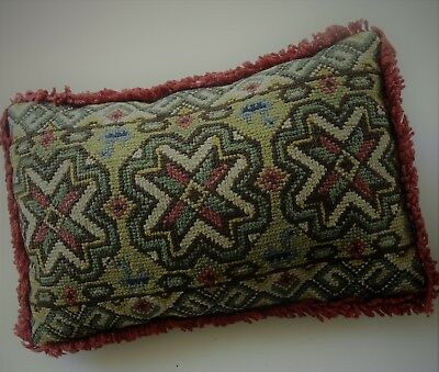 Vntage Swedish wool hand-embroidered tapestry cushion, 3 stylised flowers