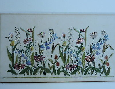 Vintage Swedish hand embroidered silk tapestry, panel of flowers 50p