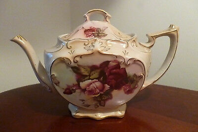 Antique Early 1900's Cube Teapot with Roses Design by Tunstall England -