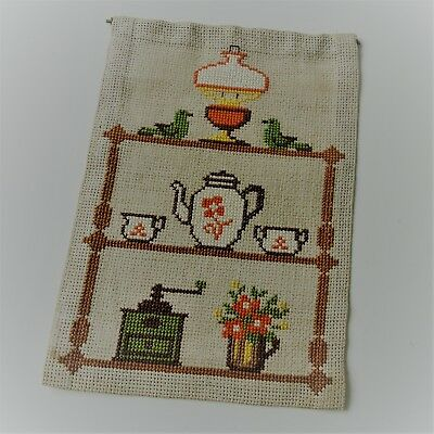 Vintage Swedish embroidered tapestry, wallshelf with retro kitchen odds 'n ends