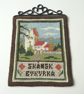 Vintage Swedish small hand embroidered wool tapestry, village church in Skane