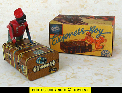 Express Boy Luggage BLACK Porter tin wind-up toy Gescha Germany ... SEE MOVIE