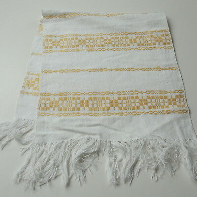 Swedish vintage 1920s handwoven linen table runne, with yellow design in bands
