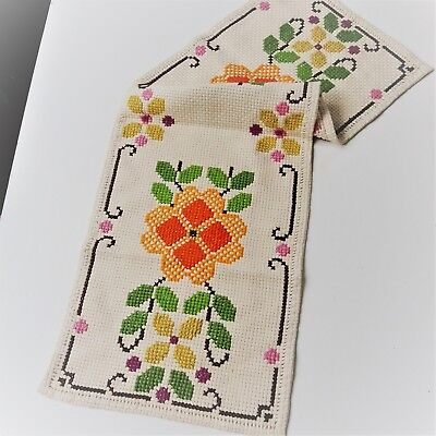 Vintage Swedish table runner, embroidered with flowers in two shades of orange