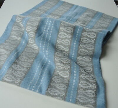 Large vintage 1970s Swedish woven tablecloth, blue with cream/ochre pattern band