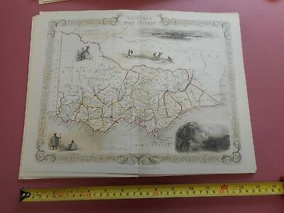 100% Original Australia Victoria Port Phillip  Map By  Tallis C1855 Vgc