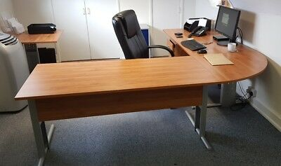 Pair of executive office desks with other matching office furniture