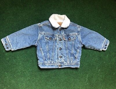 VTG 80's 90's Levi's Sherpa Denim Jacket Toddler Children's Size 3T TRUCKER KIDS