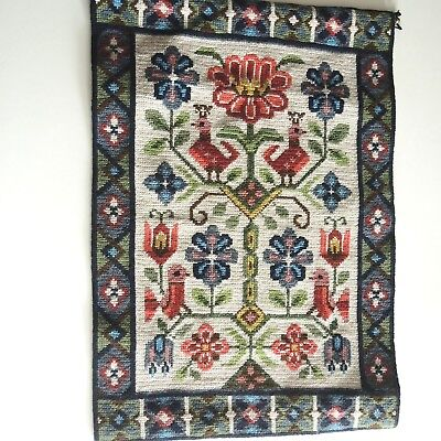Large vintage Swedish wool hand-embroidered tapestry, pink stylised birds