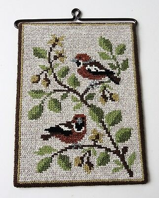 Vintage Swedish embroidered tapestry, showing two birds sitting on a branch