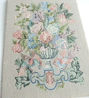 Vintage Swedish embroidered wool tapestry, flower display