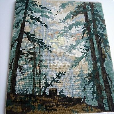 Vintage Swedish hand-embroidered wool tapestry, forest scene
