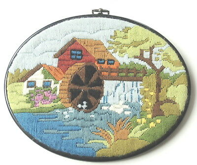 Vintage Swedish handembroidered oval tapestry picture, millhouse and water wheel