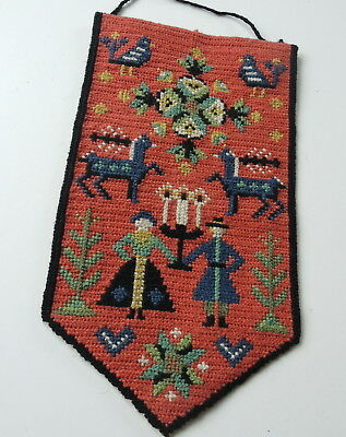 Vintage Swedish handembroidered pennant-shaped tapestry, ancient Skane motifs