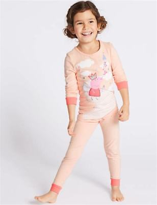 Ex M&S Gorgeous Girls Peppa Pig Peach Cotton Pyjamas  Sizes 12 Mths To 7 Years