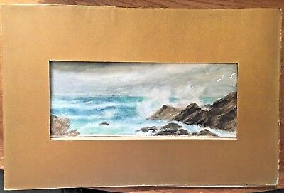 Watercolour seascape depicting stormy weather