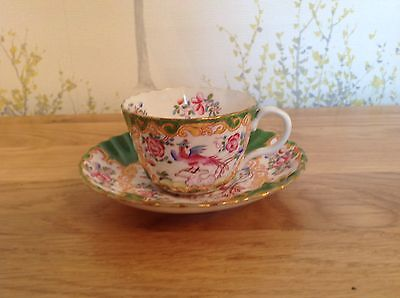 Antique Early 1900s Minton Cockatrice Green 4863 Mini Cup And Saucer