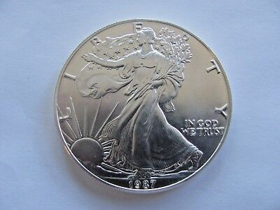 1987 1 oz AMERICAN SILVER EAGLE $1 BRILLIANT UNCIRCULATED EXCELLENT!