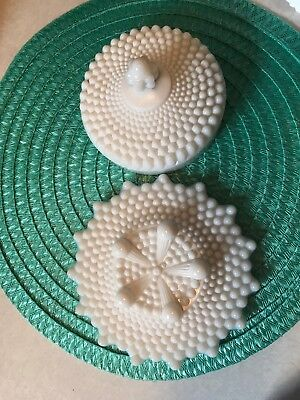 Vintage White Milk Glass Westmoreland Hobnail Footed Round Butter Dish Dome Lid