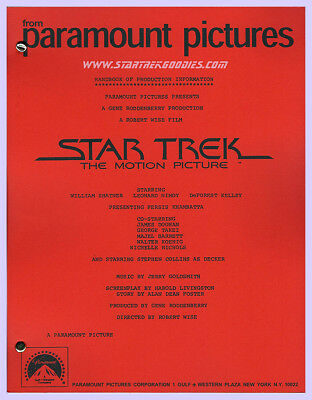 """""""STAR TREK: The Motion Picture Handbook of Production Information"""" 1979 Manual!"""
