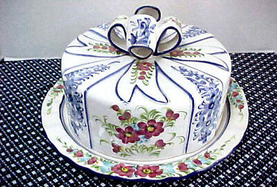 Jay Willfred for Andrea by Sadek Cake Plate Dome Cover w/Bow Blue Pink Flowers